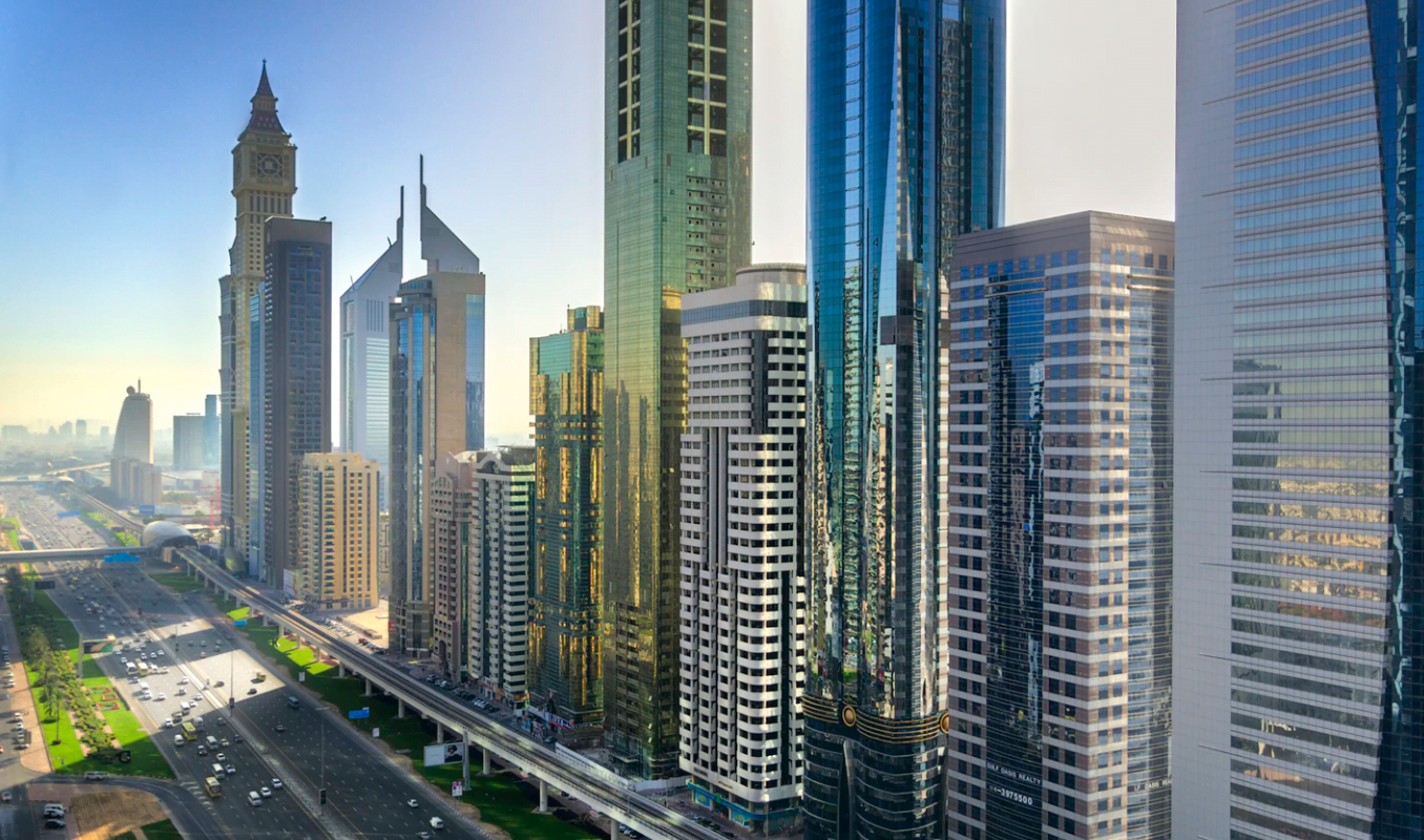 Dubai Expo 2020 Insight Cover - Image of Metro Line and Buildings