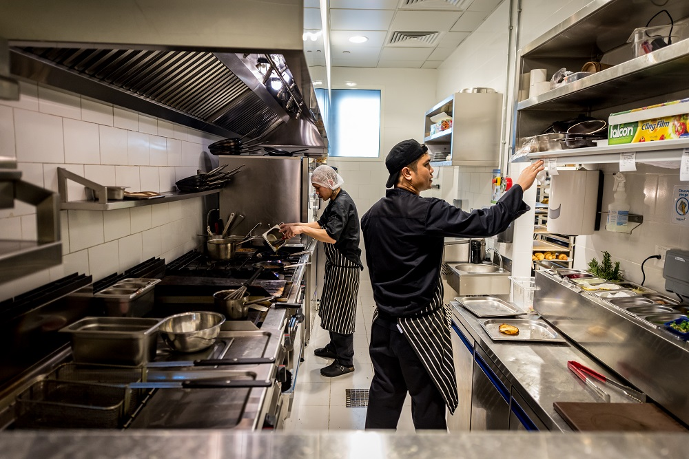 Restaurant Kitchen - Image of 2 Chefs Working
