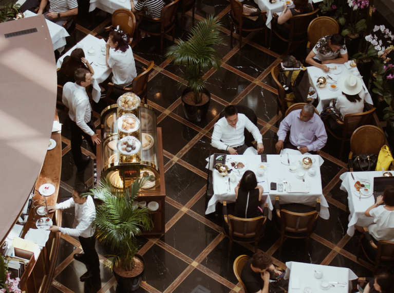 Restaurant Packed with Customers - Top View